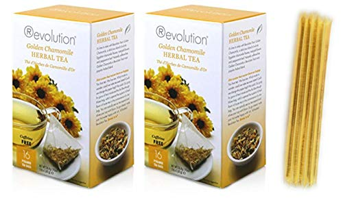 Revolution Tea Golden Chamomile Herbal Tea 2 boxes of 16 and Glenmoor Honey Sticks Gift Set