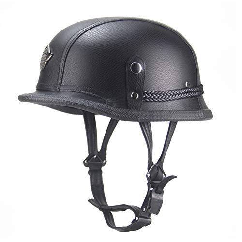 YYBFG Motorcycle Harley Helmet DOT/ECE Certification Cruise Vintage Helmet German Steel Helmet Locomotive Helmet Handmade Leather Cap Half Helmet