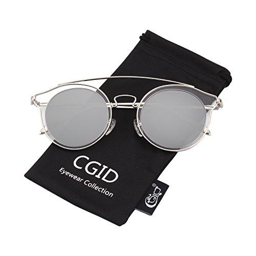 CGID MJ78 Womens Fashion Double Metal Bridge Crossbar Round Polarized Sunglasses Oversized UV400 Mirrored Lens from CGID