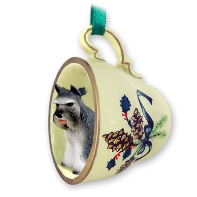 (Schnauzer Green Holiday Tea Cup Dog Ornament - Gray by Conversation Concepts)