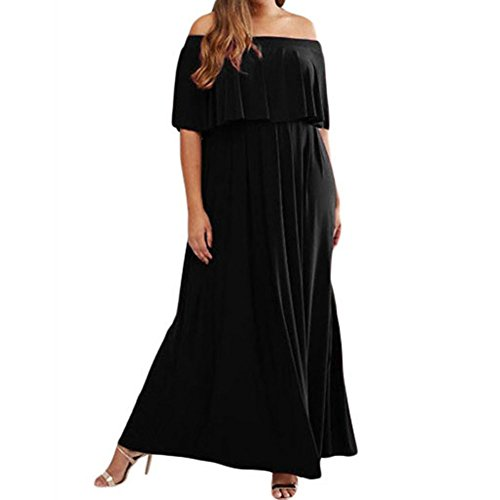 Little Black Convertible Dress (Sugarwewe Women's Sexy Plus Size Ruffle Off Shoulder Long Party Cocktail Dress)