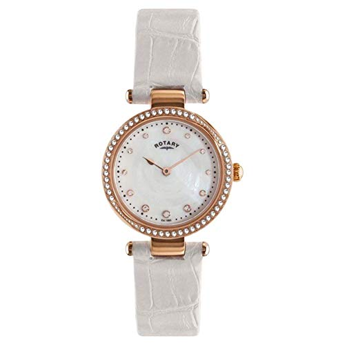 (Rotary Ladies Crystal Set Leather Strap Watch)