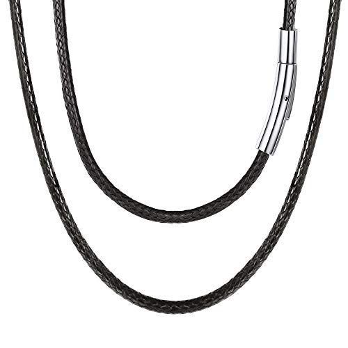 Cord Necklace with Durable Stainless Steel Snap Clasp, 16 Inch 3MM Black Men Women Leather Choker Necklace DIY Jewelry Making Hypoallergenic Waterproof Braided Woven Wax Cord Rope Chain for Pendant