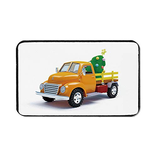Christmas Office Mouse Pad,Yellow Vintage Truck and Decorated Tree with Star Topper Old Farm Motor for Office Computer Desk,15.75''Wx23.62''Lx0.12''H