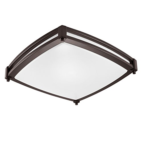 (GetInLight LED Flush Mount Ceiling Light, 16-Inch, 25W(125W Equivalent), Bronze Finish, 3000K(Soft White), Dimmable, Square, Dry Location Rated, ETL Listed,)