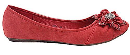7 Donne Scarpe con ballerine rosso Mocassini colore 106 strass OO1n4ST