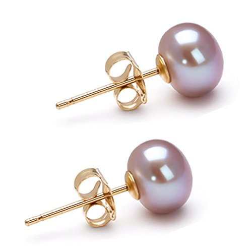 Lavender AA 6mm Freshwater Cultured Pearl Earrings Stud Lavender Freshwater Cultured Pearls Earring Studs