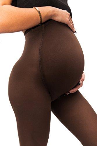 sofsy Medias Opacas de Maternidad �?Ajuste súper cómodo para todas las etapas del embarazo 50 den [Hecho en Italia] Marrón