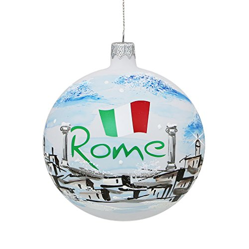 Roman Christmas Ornaments.Rome Italy Christmas Ornament Hand Painted Glass Ball Hand