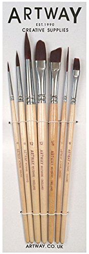 Artway - Paint Brush Set - Nylon - Pack of 7 including Round Flat Filbert Chisel and Rigger (Chisel Set Handled)