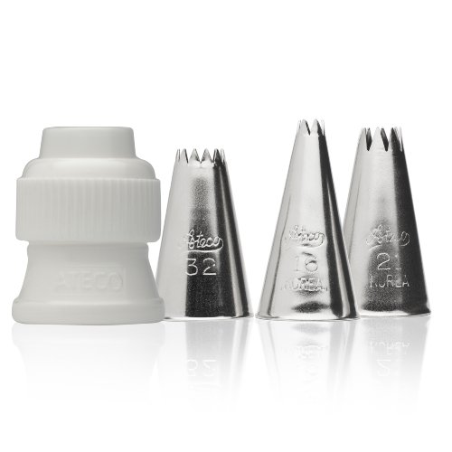 Ateco 381-4 Piece Star Decorating Tube Set, Includes Stainless Steel Tips: 16, 21, 32 & One Standard Coupler