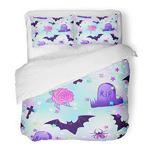 Emvency Bedding Duvet Cover Set Full/Queen (1 Duvet Cover + 2 Pillowcase) Colorful Kawaii Funny Spooky Halloween In Neon Pastel Colors Cute Gothic Vanilla 90s Hotel Quality Wrinkle and Stain Resistant ()
