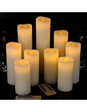 "Vinkor Flameless Candles Battery Operated Candles 4"" 5"" 6"" 7"" 8"" 9"" Set of 9 Ivory Real Wax Pillar LED Candles with 10-Key Remote and Cycling 24 Hours Timer"