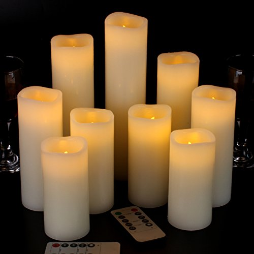 "Vinkor Flameless Candles Battery Operated Candles 4"" 5"" 6"" 7"" 8"" 9"" Set of 9 Ivory Real Wax Pillar LED Candles with 10-Key Remote and Cycling 24 Hours Timer from Vinkor"