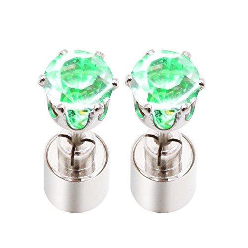 Cube Ring (LED Fashion Green Crystal Earrings Cube Shape Blinking Ear Studs Shinning Flashing Drop Pendant for Women Girls)