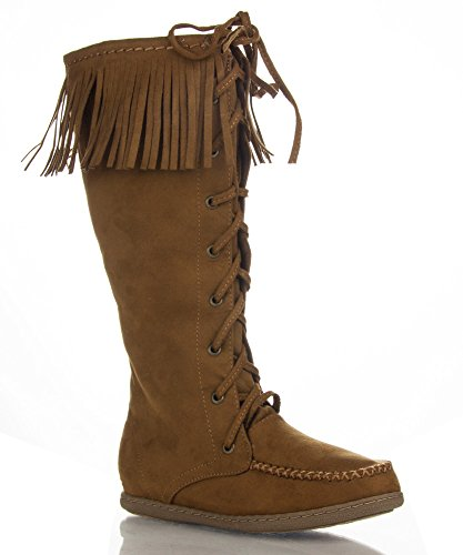Knee Vegan Vinery Soda High to Mid Fringe Boot Tan Round Moccasin Women's Suede Toe Calf vScpAqw