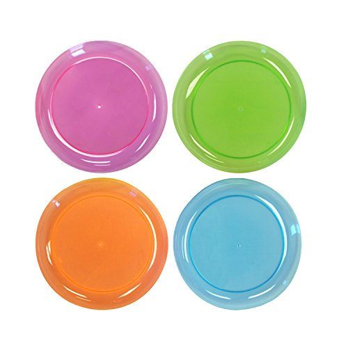 Party Essentials Hard Plastic 6-Inch Round Party/Dessert Plates, Assorted Neon, 120-Count