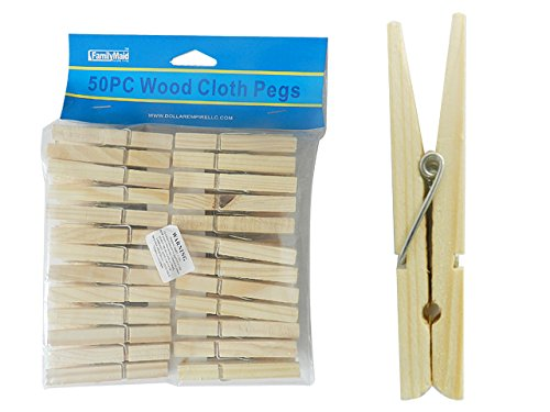 50PC Wooden Clothespins, Cloth Pegs , Case of 72 by DollarItemDirect