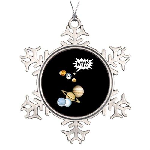 Shety Lot Xmas Trees Decorated Planet Pluto WTF! Vintage Snowflake Ornaments Wtf Christmas Ornaments