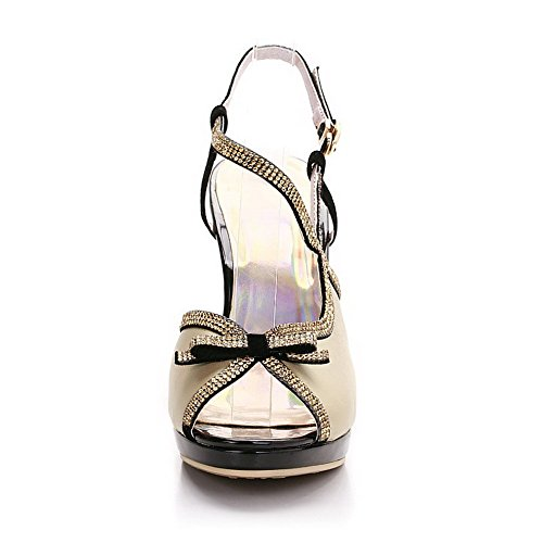 Solid LightYellow Peep Cowhide AmoonyFashion Sandals High Buckle Womens Toe Heels Op0zfx
