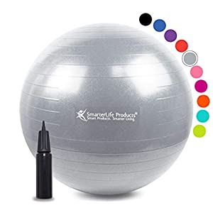 Exercise Ball for Yoga, Balance, Stability from SmarterLife - Fitness, Pilates, Birthing, Therapy, Office Ball Chair, Classroom Flexible Seating - Anti Burst, Non Slip + Workout Guide (Silver, 75cm)