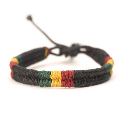 Rasta plaided hippie bracelet leather cotton braided bob marley wristband