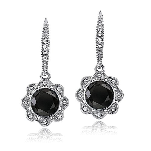 Silver Tone Black & Clear Crystal Halo Dangle Flower Leverback Earrings with Swarovski Elements