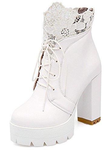 Vitalo Womens High Block Heel Platform Lace up Ankle Boots Zip up Lace Booties Shoes White
