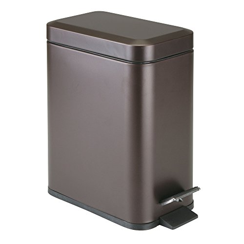mDesign 5 Liter Rectangular Small Steel Step Trash Can Wastebasket, Garbage Container Bin for Bathroom, Powder Room, Bedroom, Kitchen, Craft Room, Office - Removable Liner Bucket, Bronze