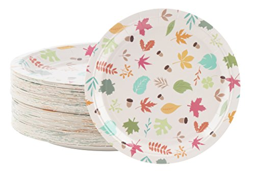 Disposable Plates - 80-Count Paper Plates, Autumn Party Supplies for Appetizer, Lunch, Dinner, and Dessert, Kids Birthdays, Fall Leaves Design, 9 x 9 Inches