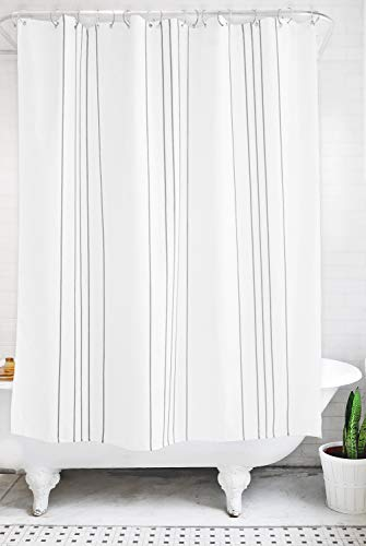 (Bathage Modern Stripe Fabric Shower Curtain - Exclusive Waterproof Antimicrobial Fabric - No Liner Necessary - Clean Design for The Modern Bath - Grey and White (Graphite))