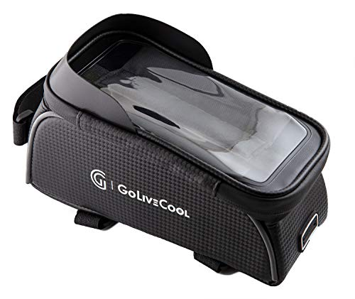 GoLiveCool Bike Bag Front Frame with Phone Holder Waterproof Touch Screen for Mountain Road Bicycle – Fits Cell Phones Below 6.7″ iPhone Samsung and Others – Large Capacity Cycling Accessories