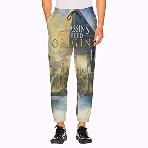 Assassins Creed Sweatpants 3D Printing with Pockets Sports Jogger Pants for Mens White (Sweat Creed Assassins Pants)