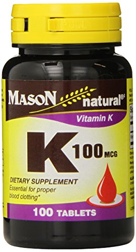 Mason Natural, Vitamin K, 100 Mcg Tablets, 100 Count Bottle (EACH),Dietary Supplement Supports Healthy Intestine and Liver Functions, May Help Prevent Calcification in Arteries