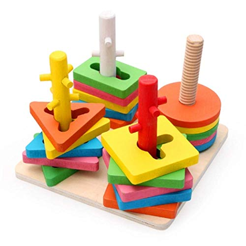 Young for U Wooden Educational Shape Color Recognition Geometric Board Block Stack Sort Chunky Puzzle Toys, Birthday Gift Toy for Age 3 4 5 Years Old and Up Kid Children Baby Toddler Boy Girl (4 Set)