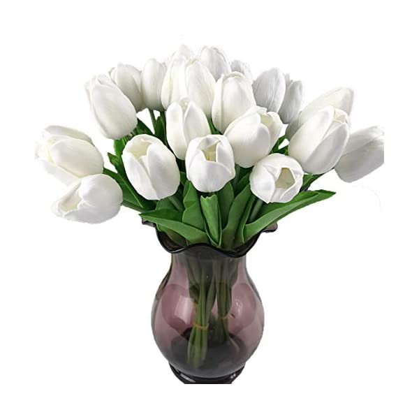 """Calcifer@ 12 Pcs (One Set) 13.8"""" New Beautiful PU Mini Artificial Tulips Flowers Bouquet for Home Decoration/Wedding (White)"""