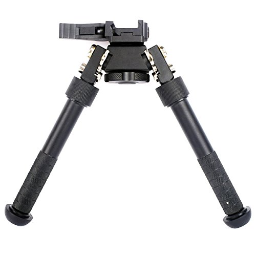 Rifle Bipod CNC QD Tactical Picatinny Rail Bipod Flat Adjustable (Black)