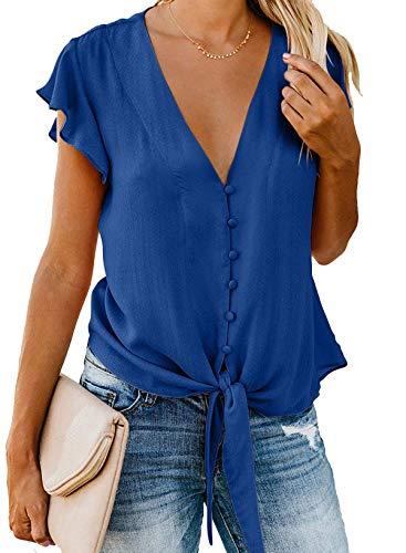 - Barlver Womens Button Down V-Neck Tops Ruffle Cap Sleeve Tie Knot Chiffon Summer Shirt Blouses(Blue-42 XL)