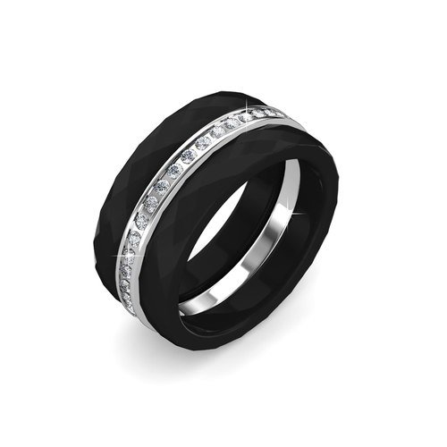 270a80cf35946 FAPPAC Ceramic Set of 3 Stacking Ring Enriched with Swarovski Crystals -  Black - 5
