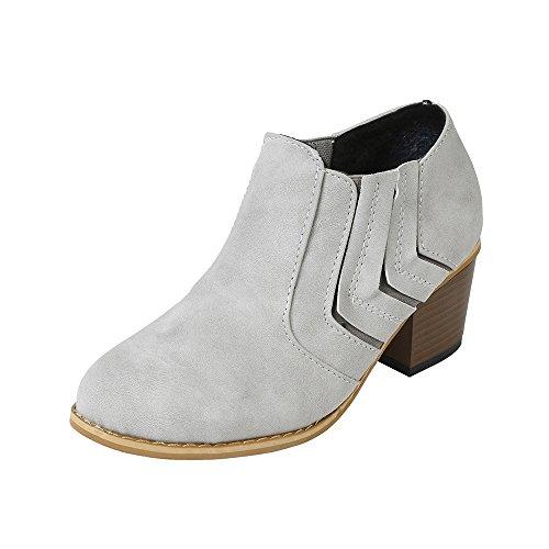 Sonnena Damen Elegant Schnalle Lederstiefel Warm Faux-Stiefel Sexy High Heels Einzelne Stiefel Martin Stiefel Schnürer Low-Top Boots Mode Frauen Schuhe 35-43 Grau