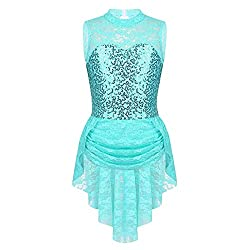 Figure Skating Sleeveless Sequins Lace Dress