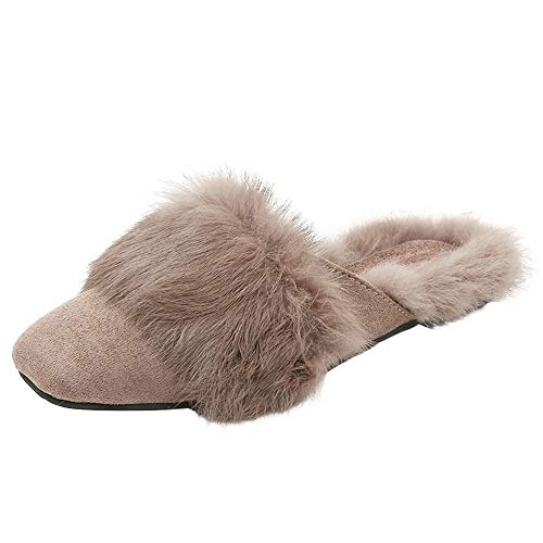 Pour En 2018 Fausse Chaussure Et Chic Femme Nouveau Kaki Femmes Moelleuses Automne Fourrure Pantoufles Hiver Plates Chaudes F66A41f
