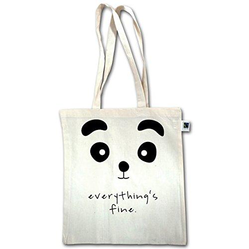 Eulen, Füchse & Co. - Panda everythings fine - Unisize - Natural - XT600 - Jutebeutel lange Henkel