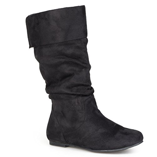 (Journee Collection Womens Slouch Mid-Calf Microsuede Boots Black, 9 Regular US)