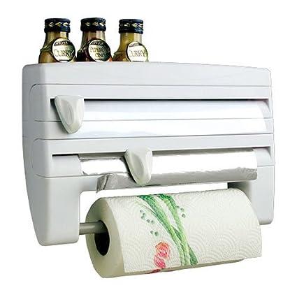 Blanco montado en pared TRIPLE soporte para rollo de papel dispensador de film transparente, papel