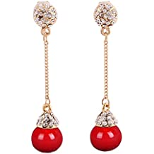 Grace Jun Bridal Gold Plated Full Rhinestone Long Drop Earrings and Clip on Earrings Without Piercing