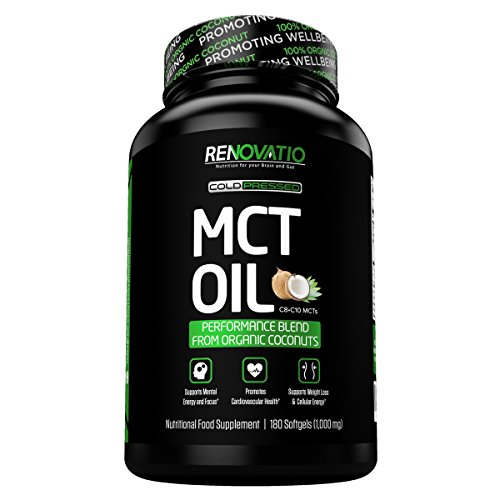 MCT Oil from 100% Organic Coconuts (180 Softgels of 1,000mg) Primal Octane Fuel for Your Brain. Promotes Focus, Bulletproof Energy & Weight Loss.* Perfect for Keto & Paleo Non-GMO For Sale