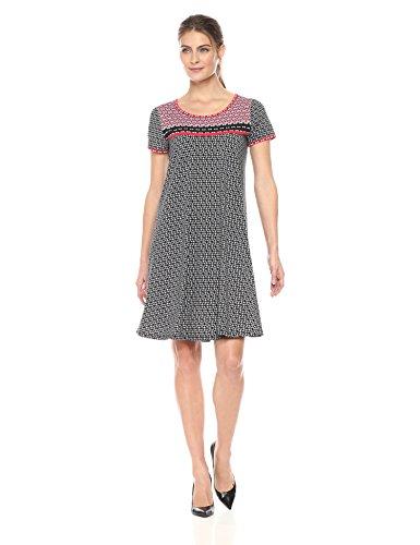 Amazon Brand - Lark & Ro Women's Short Sleeve Scoop Neck T-Shirt Dress, Black/Red Arrows, ()