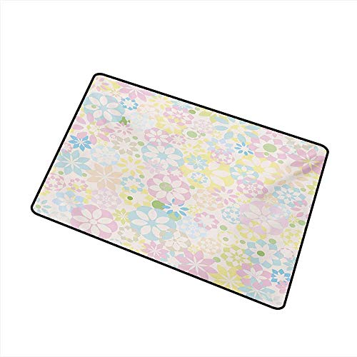 Diycon Pet Door mat Pastel Blossoming Flowers Bedding Plants Spring Colors Botanical Colorful Meadow Theme W35 xL59 Anti-Fading