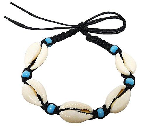 Bijoux De Ja Bead Cowry Shells Wax Cord Bracelet Free Size (Sky-blue Stone)